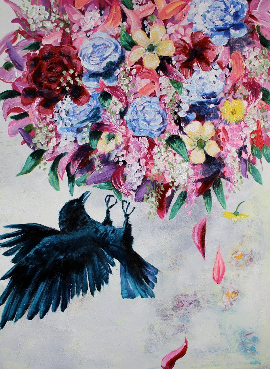 Large crow painting flowers bouquet acrylic by for Painting large flowers in acrylic