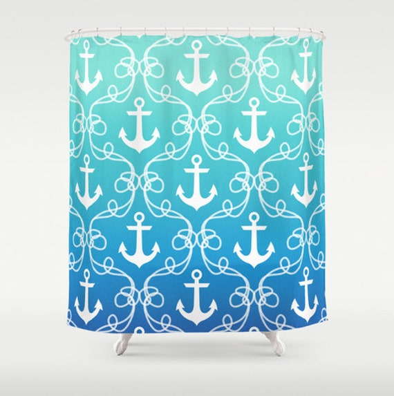 Curtains Ideas blue ombre shower curtain : Nautical shower curtain anchors in blue ombre beach house