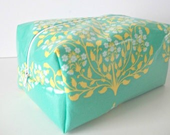 Modern Aqua Waterproof Makeup Bag - Water Resistant Cosmetic Bag - Amy Butler Laminated Fabric