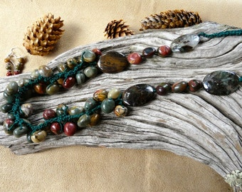 20-30 Inch Dramatic Adjustable Vintage Crocheted Ocean Jasper Necklace with Earrings
