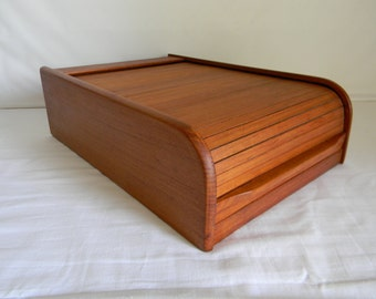 Vintage Mid Century Modern Teak Cassette Tape Storage Box Tambour Top Kalmar Designs