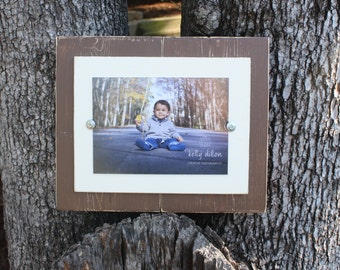 Distressed Picture Frame, Rustic Picture Frame, 5x7 Picture Frame, Wood Plank Frame, Brown Frame