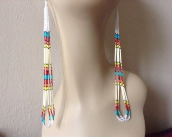 New Long Quill White Spiritual Fire Native Boho Hippie style delica seed 8 1/2 inch loop hand beaded earrings