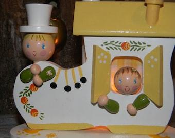 SALE Irmi Lamp, Nursery Lamp, Vintage Irmi Childs Lamp, Wooden Shoe Lamp