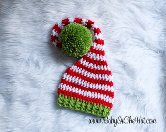 Children's Pixie Elf Christmas Holiday Red White And Green Striped Crochet Hat 0-5 Years