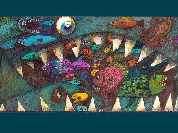 Big fish eat small fish from my series dreamscapes by for Big fish eat small fish