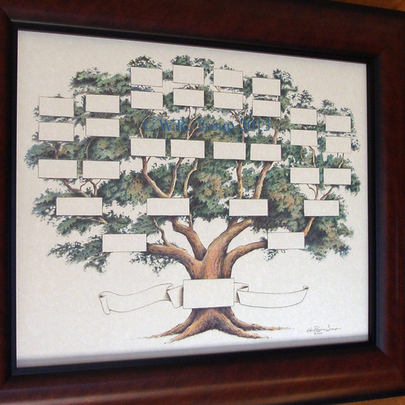 Family Tree Chart Shows 5-6 Generations On A 14x18 Inch Print