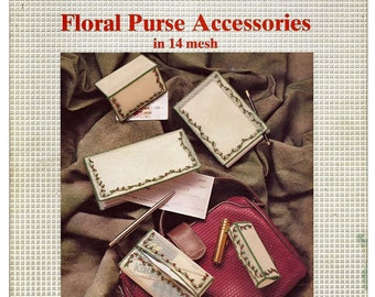 Floral Purse Accessories in 14 Mesh / Plastic Canvas Pattern / Book 36569