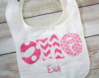 Birthday Girl ONE bib, Personalized with Name - Made to Match - First Birthday Bib Girl - You Choose Fabric