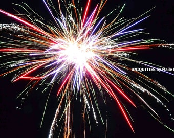 SALE Firework Pom Pom Photograph Print, 8 x 10 inches, wall art 4th of July New Year's Eve celebrate night red white blue
