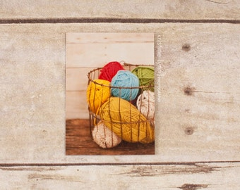 basket of yarn refrigerator magnet, still life photography, kitchen decor, photo magnet, yarn, photography, magnets
