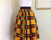 African Ankara Print midi Skirt for Women