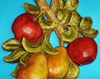 Large Chalkware Wall Plaque , Pears, Apples, 50s or 60s.