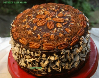 Vegan gluten free German pecan coconut birthday cake, love, animal free cruelty,no eggs,no dairy.