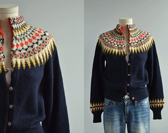 Vintage nordic wool fair isle cardigan 1950s hand knit sweater navy