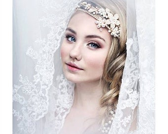 A Golden Glimpse of Hope bridal headband - Shimmering tiara with flowers, crystals and pearl