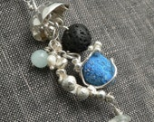 Azurite, Pearl, Lava and Aquamarine Jellyfish Necklace in Sterling Silver