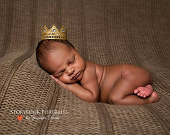 Majestic Gold Lace Crown with Gems for Boy or Girl - Perfect Newborn Photo Prop