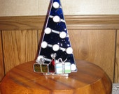 Stained Glass Cobalt Blue Christmas Tree Candle Holder - Item 4-1056