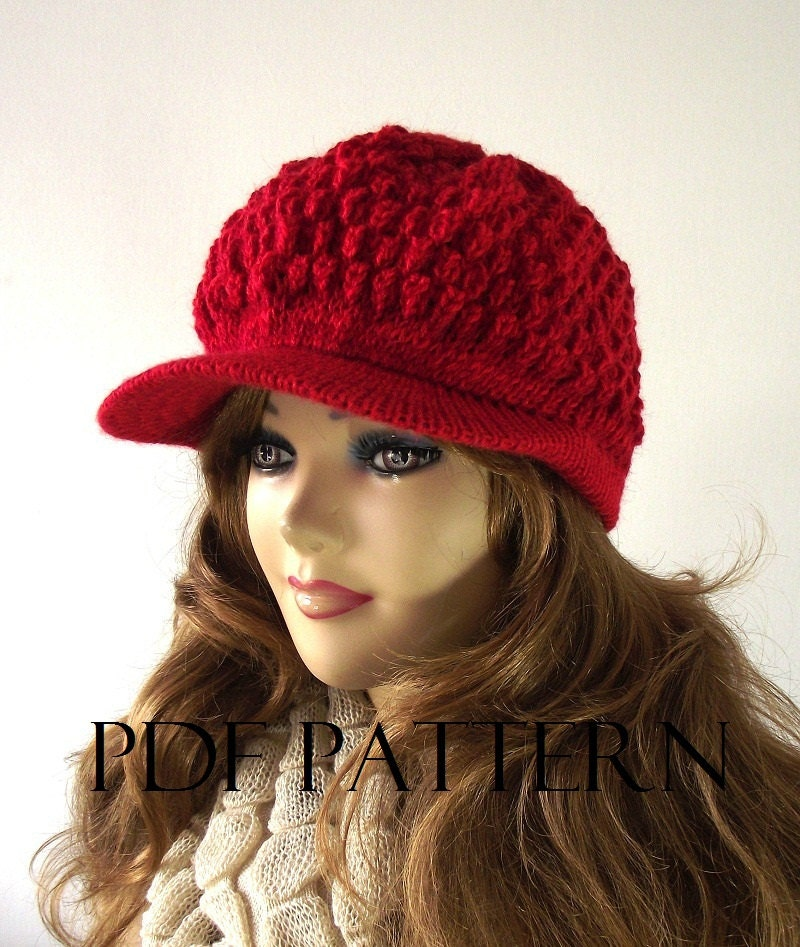 Knit Hat Pattern Free Brim : KNITTING HAT PATTERN Newsboy Hat Claire newsboy hat pattern