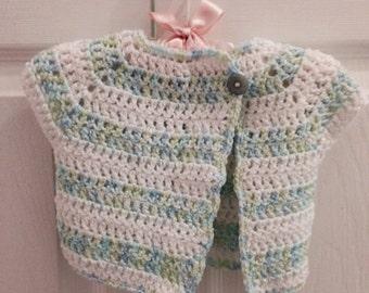 3-6 Months Blue/green & white striped baby boy Crochet Sweater