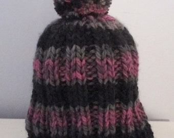 Purple and Black Stripped Hat