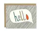 Hello Card - Hello Notecard, Thank You Card, Thank You Notecard, Hand Lettered, Talk Bubble, Illustrated