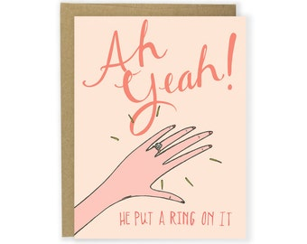 Engagement Congrats - He Put A Ring On It - Funny Engagement Congratulations Card, Cute Illustrated Engagement Card, Engagement Ring Card
