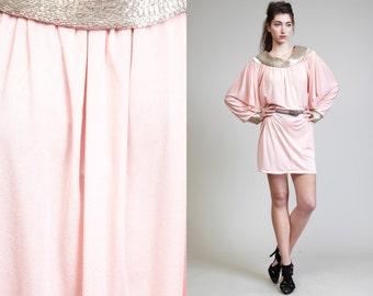 Vintage 70s 80s SEQUIN BATWING Kimono Pink Dress// Sequin Cuffs Bib Necklace
