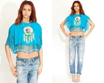 Vintage 80s FRINGE Beaded Tee Shirt // Teal Top