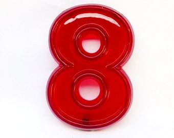 """Red Marquee Number 8 - Vintage Plastic Sign - 8"""" tall"""