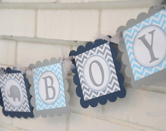 It's a Boy Elephant banner, Elephant baby shower, elephant banner, blue and grey