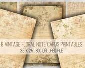 Digital Collage Sheet Download - Vintage Floral Journaling Tags -  1009  - Digital Paper - Instant Download Printables