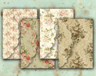 Digital Collage Sheet Download - Floral Envelopes -  545  - Digital Paper - Instant Download Printables
