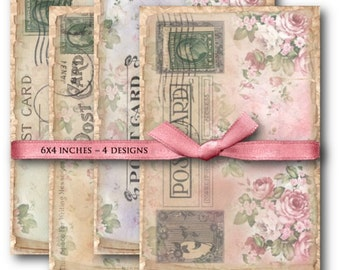 Digital Images - Digital Collage Sheet Download - Shabby Chic Roses Postcards -  874  - Digital Paper - Instant Download Printables