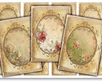 Digital Images - Vintage Floral Tags - Digital Collage Sheet Download 920 - Instant Download Printables