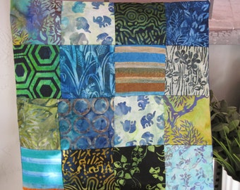 """14"""" x 14"""" batiks PILLOW COVER - Twilight on an African Savannah using 16 Squares of Nature"""