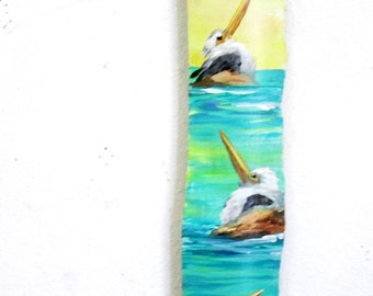 Original Painting on Drift wood- Pelcans- Colorful Beach Decor-Maritime- Coastal Decor