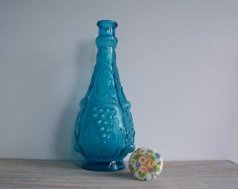 Blue glass decanter- Free Shipping