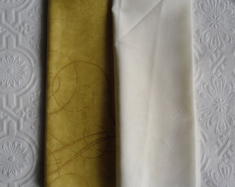 Designer Fabric Samples - 3 Fat Quarters - Balleny in Gold and Pale Gold - Balleny Voile in White - Cushion Fabric