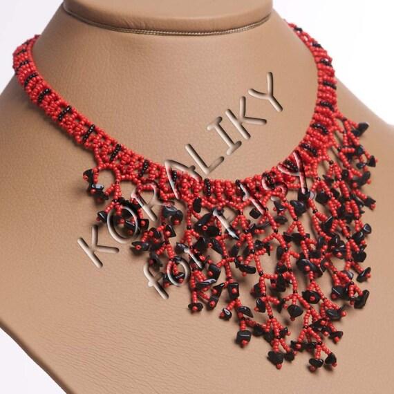 Modern Ukrainian Handmade Beaded Jewelry NECKLACE Waterfall Gerdan With Black Agate Stones: Red /Black
