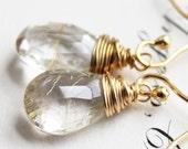 golden ice. earrings. (golden rutilated quartz. teardrop gemstone. 14k gold. jewelry. made to order)