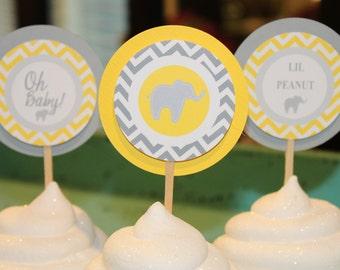 CHEVRON ELEPHANT Theme Birthday or Baby Shower Cupcake Toppers 12 {One Dozen}