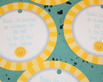 LITTLE SUNSHINE Theme Party Happy Birthday Baby Shower Favor Tags or Stickers 12 {One Dozen} Yellow Blue  - Party Packs Available