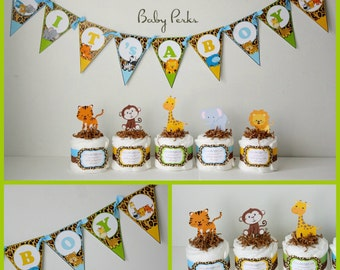 5 Mini Jungle Diaper cakes , Jungle Diaper cake, Jungle Baby shower, Safari Diaper cake, Safari Baby shower, baby shower decorations
