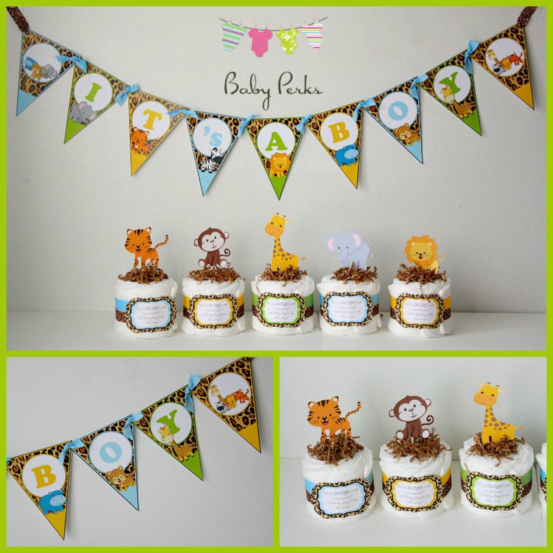 5 mini jungle diaper cakes jungle diaper cake jungle baby shower safari diaper