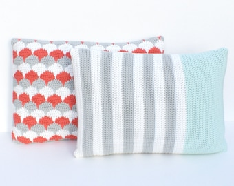 Grey, white and mint striped crochet and fabric pillow/cushion