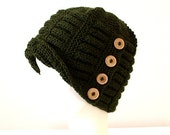 Hand Knitted Buttoned Women Hat/ wool yarn/dark green color