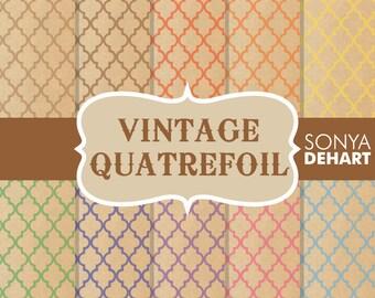 80% OFF Sale Digital Paper Vintage Quatrefoil Moroccan Background Patterns