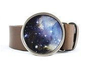 Nebula Belt Buckle, Universe Belt Buckle, Space Belt Buckle, Stardust Belt Buckle, Blue Belt Buckle - myBeltBuckle